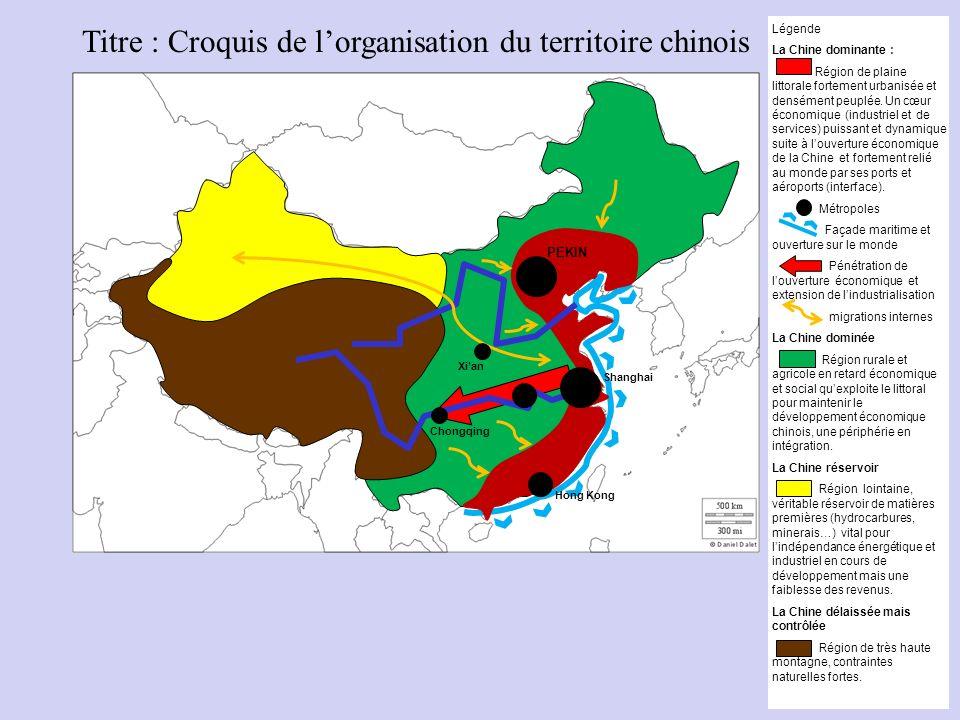Titre : Croquis de l'organisation du territoire chinois