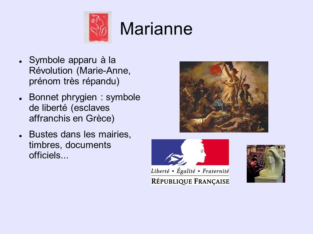 Marianne Symbole apparu à la Révolution (Marie-Anne, prénom très répandu) Bonnet phrygien : symbole de liberté (esclaves affranchis en Grèce)