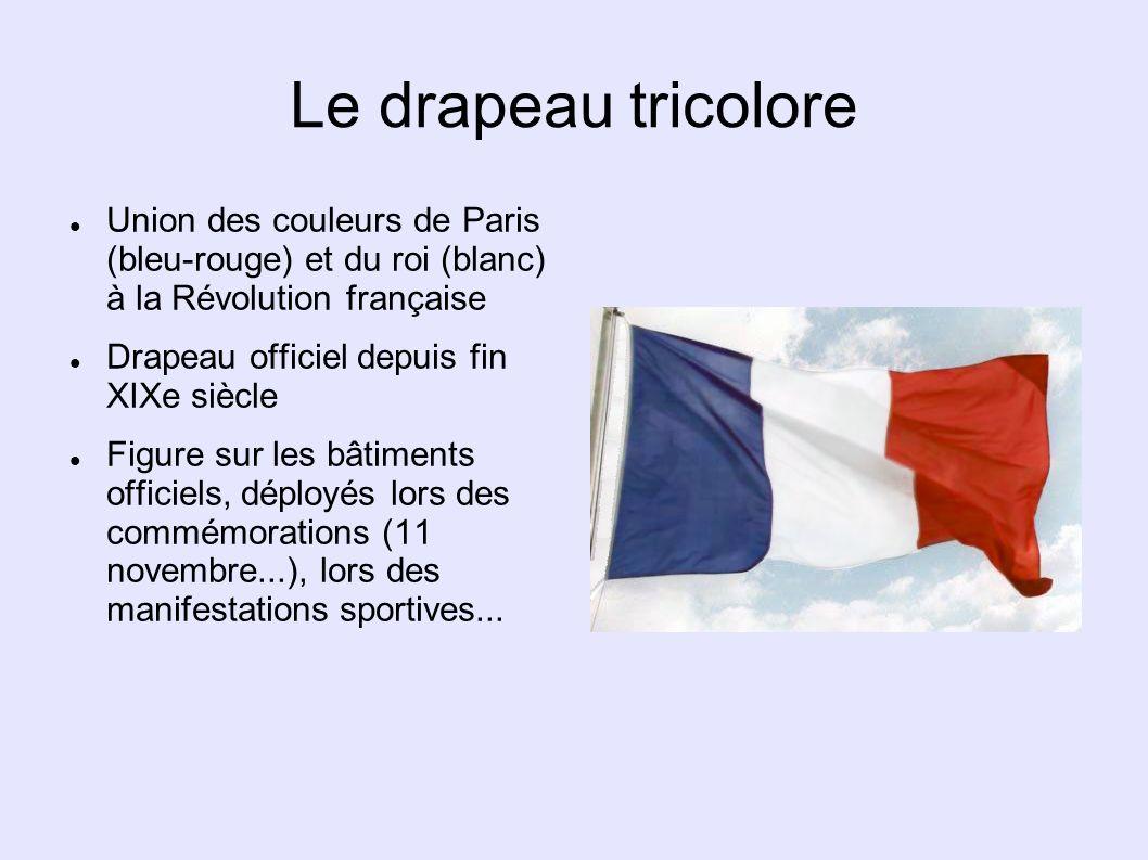 Le drapeau tricolore Union des couleurs de Paris (bleu-rouge) et du roi (blanc) à la Révolution française.