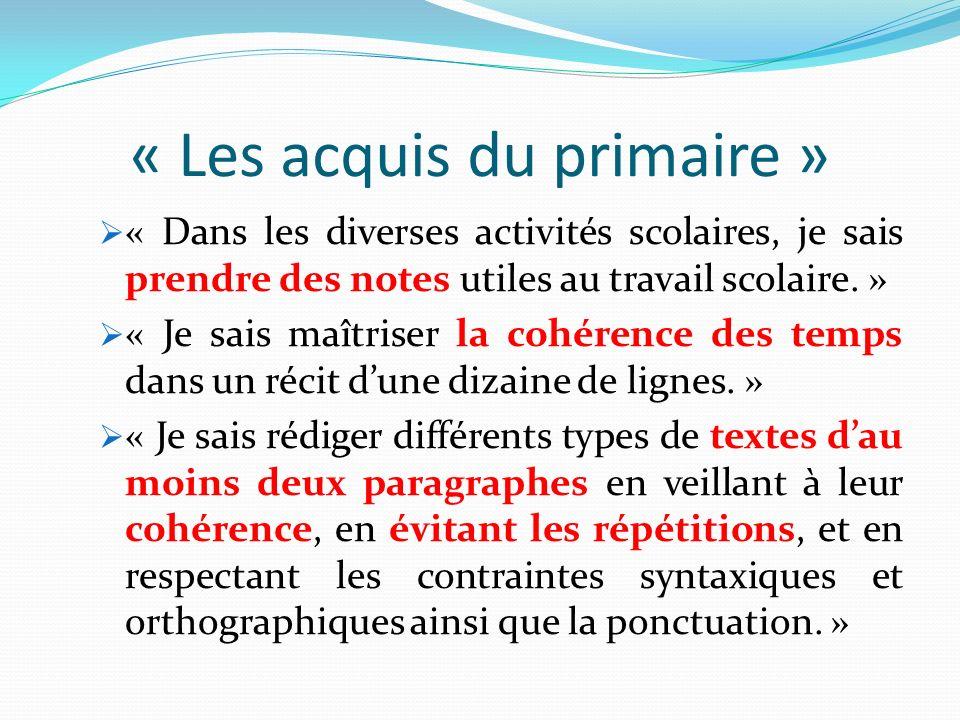 « Les acquis du primaire »