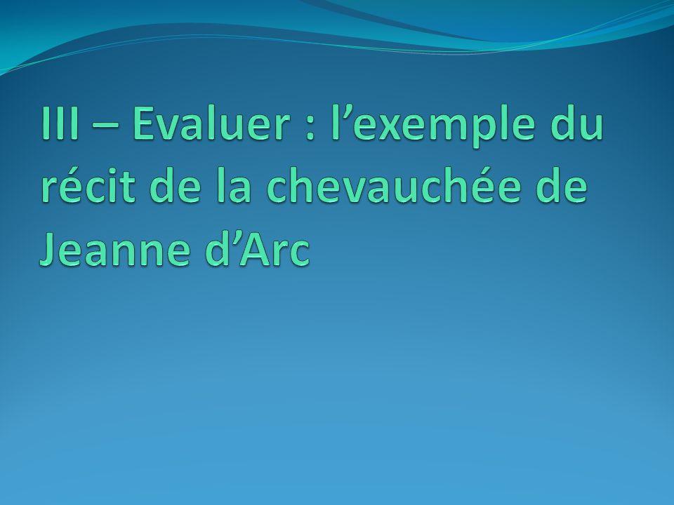 III – Evaluer : l'exemple du récit de la chevauchée de Jeanne d'Arc