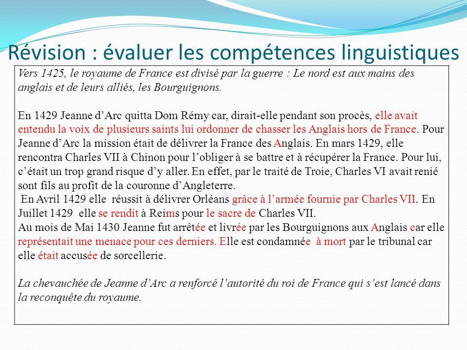 Révision : évaluer les compétences linguistiques
