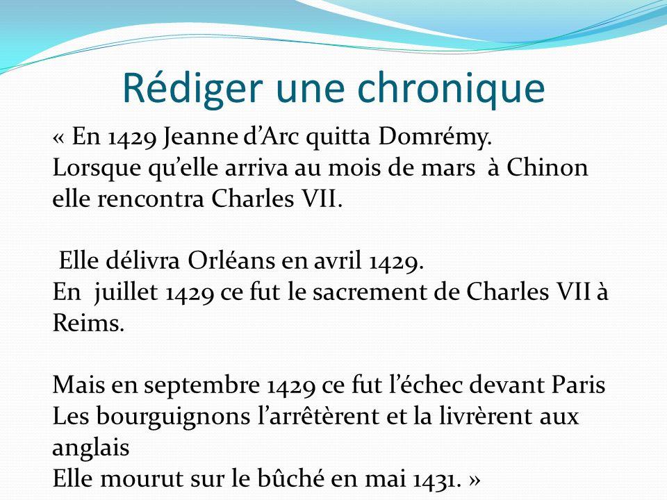 Rédiger une chronique « En 1429 Jeanne d'Arc quitta Domrémy.