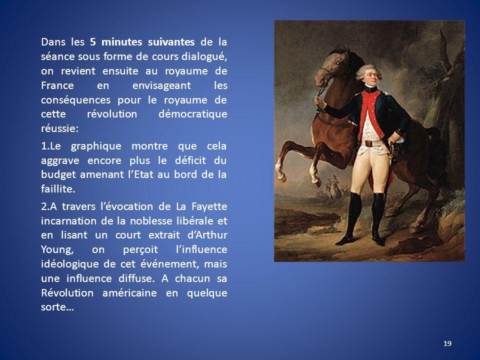 Dans les 5 minutes suivantes de la séance sous forme de cours dialogué, on revient ensuite au royaume de France en envisageant les conséquences pour le royaume de cette révolution démocratique réussie: