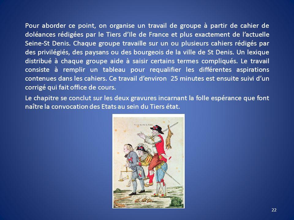 Pour aborder ce point, on organise un travail de groupe à partir de cahier de doléances rédigées par le Tiers d'Ile de France et plus exactement de l'actuelle Seine-St Denis.