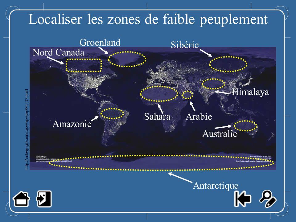 Localiser les zones de faible peuplement