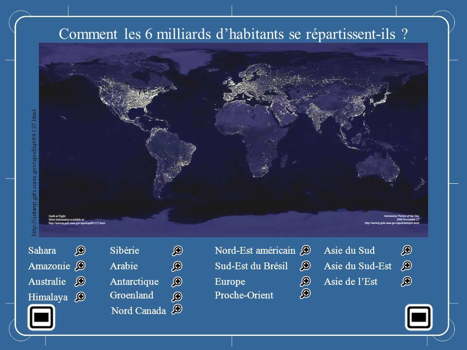 Comment les 6 milliards d'habitants se répartissent-ils