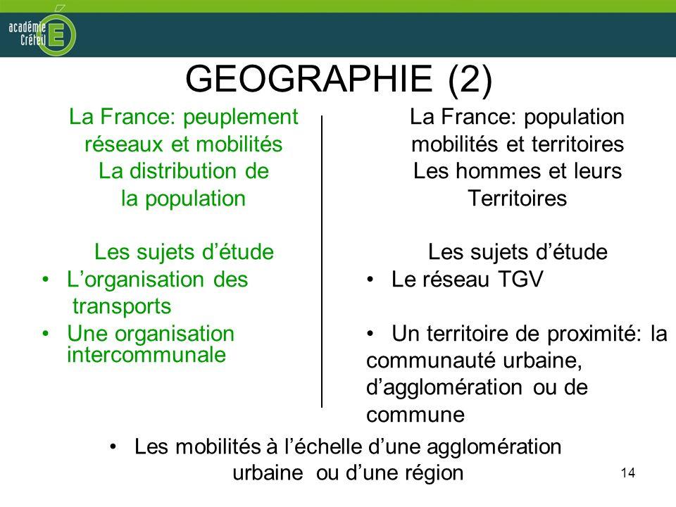 GEOGRAPHIE (2) La France: peuplement réseaux et mobilités