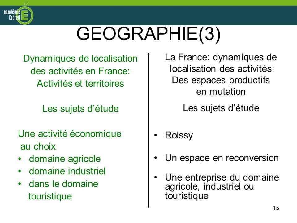 GEOGRAPHIE(3) Dynamiques de localisation des activités en France: