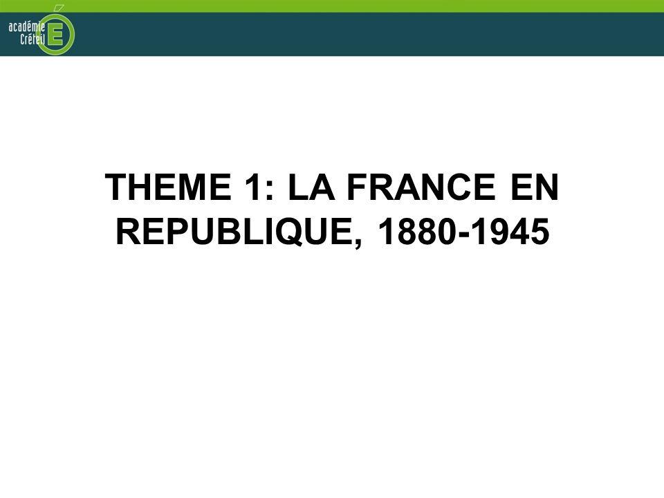 THEME 1: LA FRANCE EN REPUBLIQUE, 1880-1945