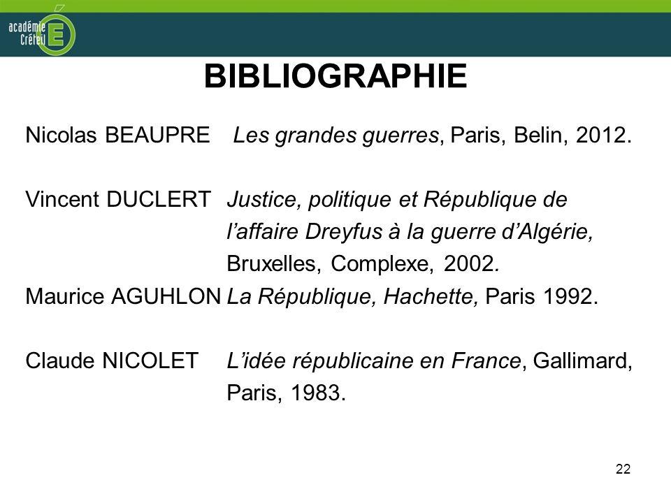 BIBLIOGRAPHIE Nicolas BEAUPRE Les grandes guerres, Paris, Belin, 2012.