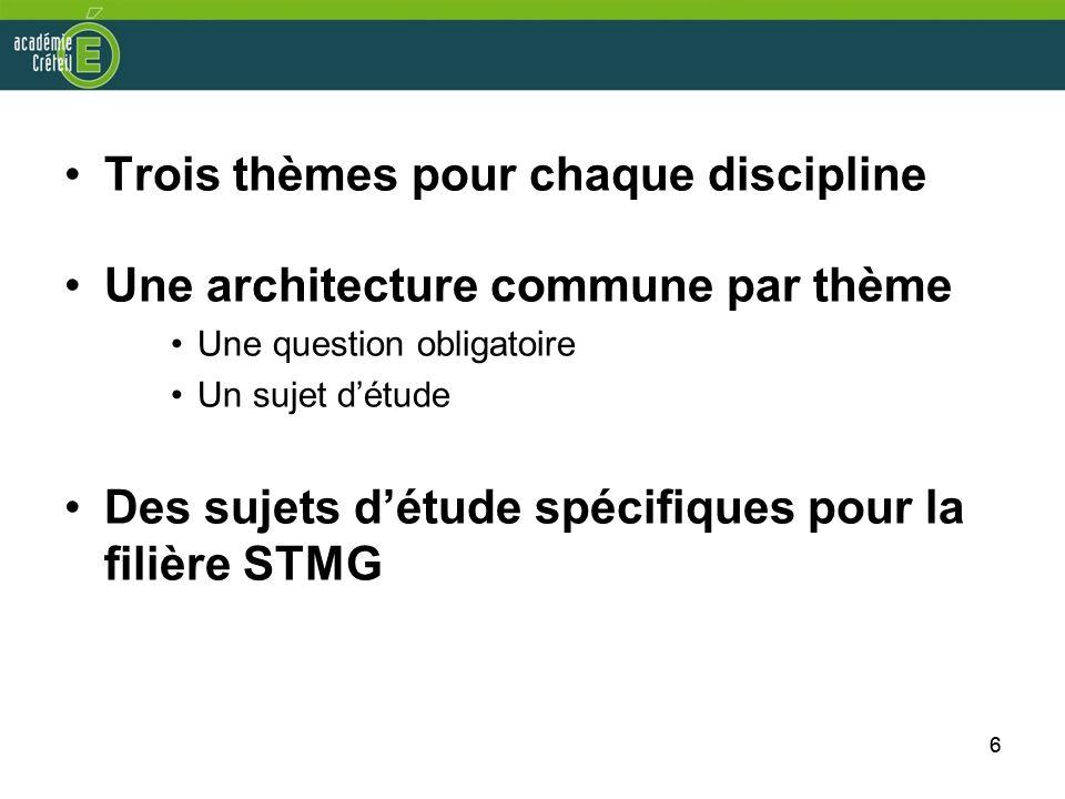 Trois thèmes pour chaque discipline Une architecture commune par thème