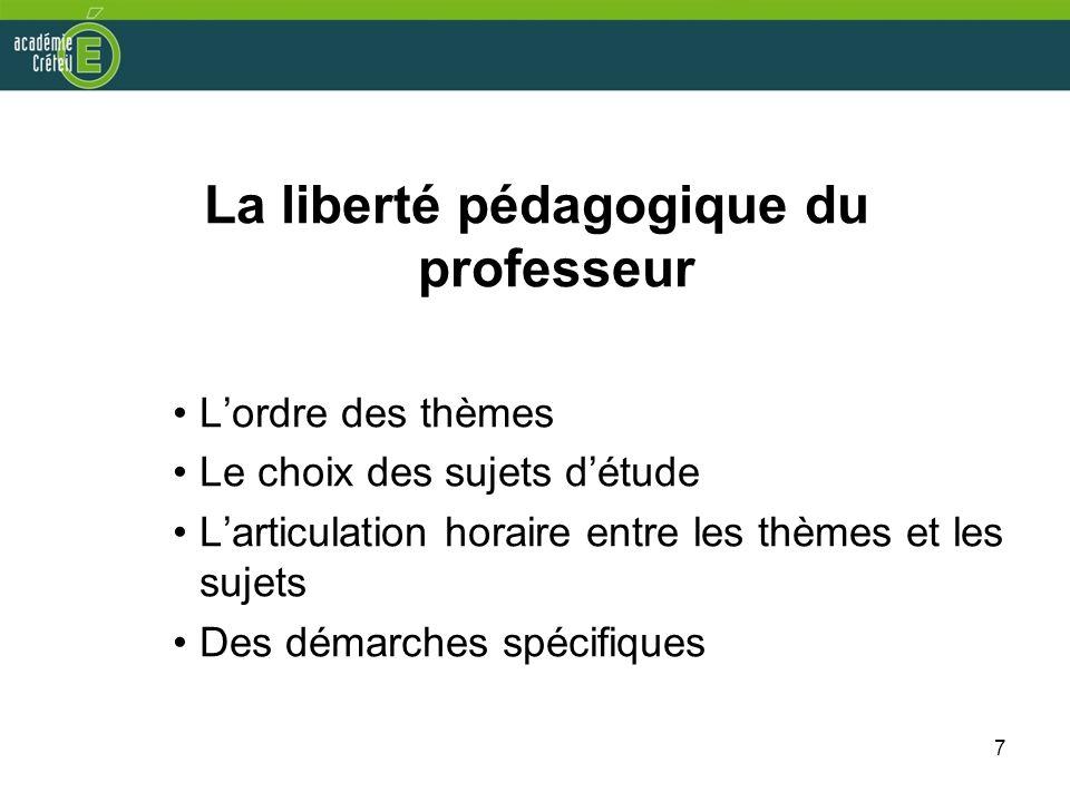 La liberté pédagogique du professeur