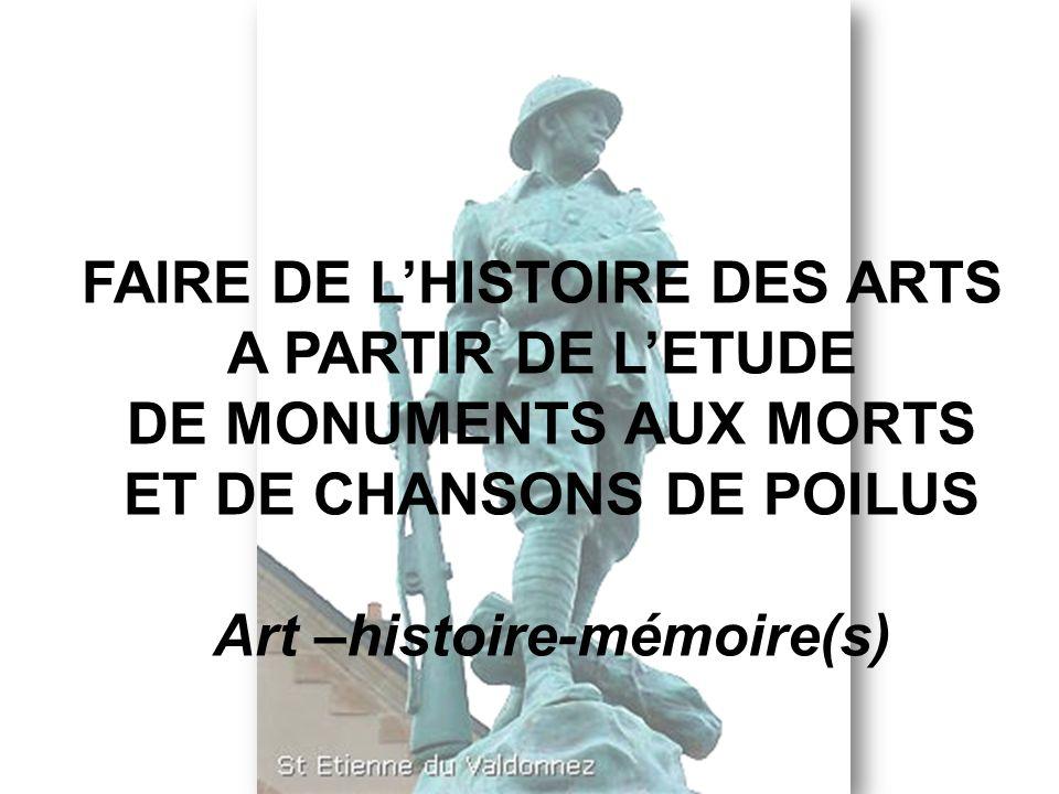 FAIRE DE L'HISTOIRE DES ARTS A PARTIR DE L'ETUDE