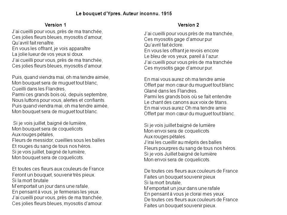 Le bouquet d'Ypres. Auteur inconnu. 1915