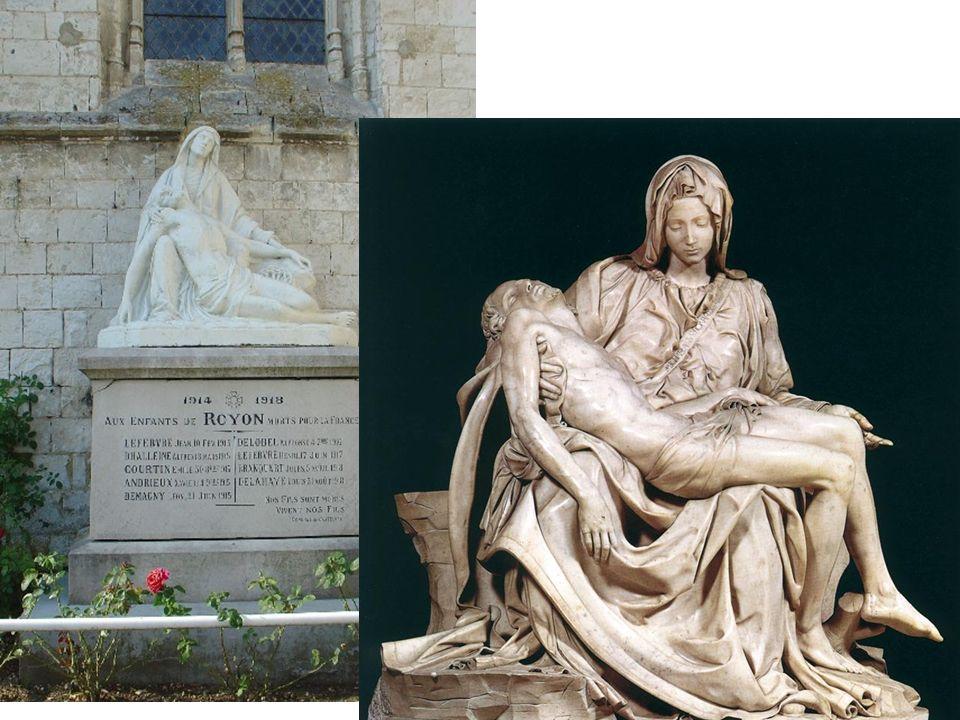 Autre type largement influencé par les œuvres des grands maîtres, les Pietà. L'influence de Michel Ange est évidente….jusqu'à la copie.