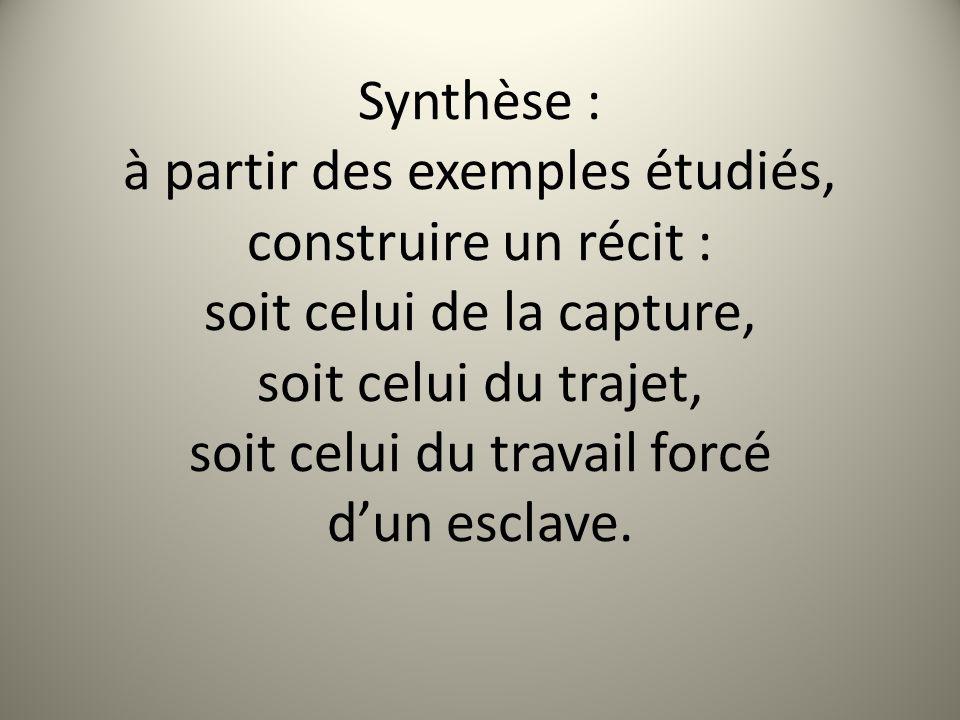 Synthèse : à partir des exemples étudiés, construire un récit : soit celui de la capture, soit celui du trajet, soit celui du travail forcé d'un esclave.
