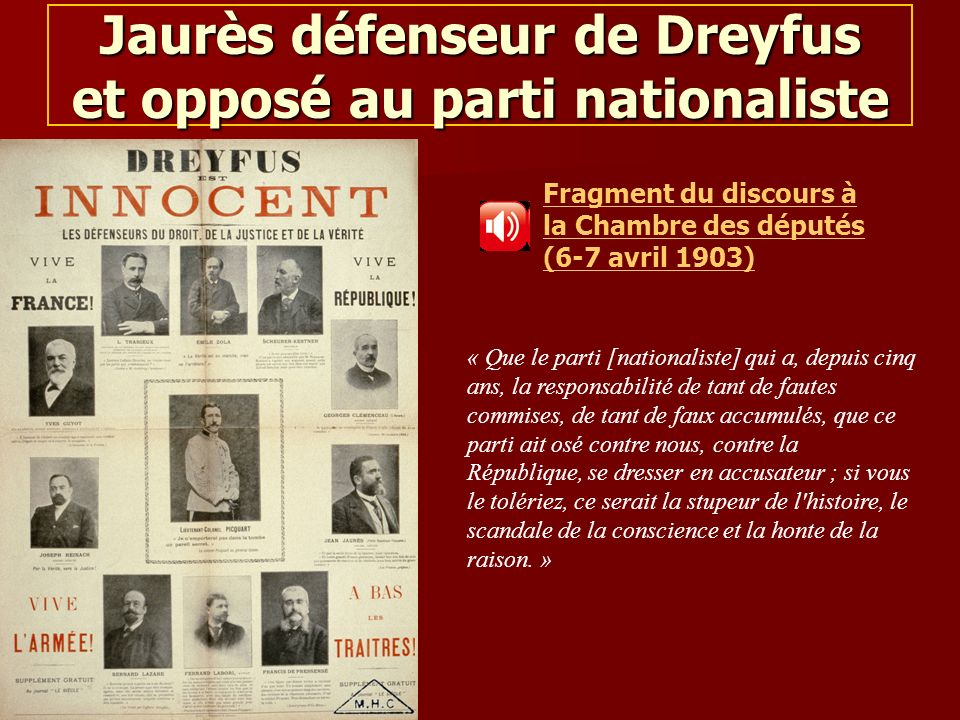Jaurès défenseur de Dreyfus et opposé au parti nationaliste