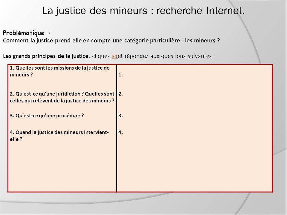 La justice des mineurs : recherche Internet.