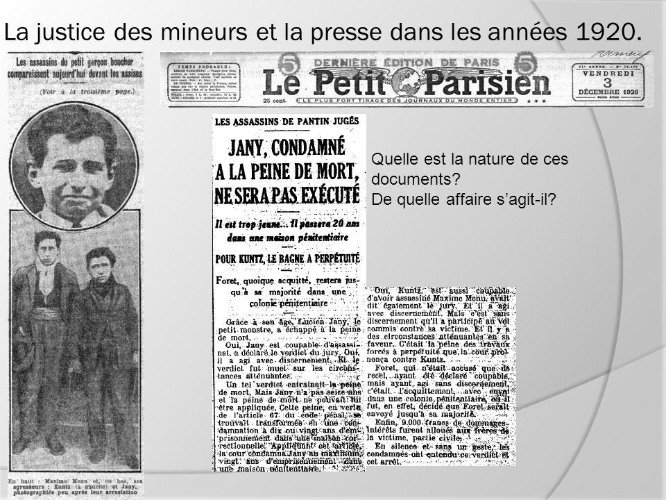 La justice des mineurs et la presse dans les années 1920.
