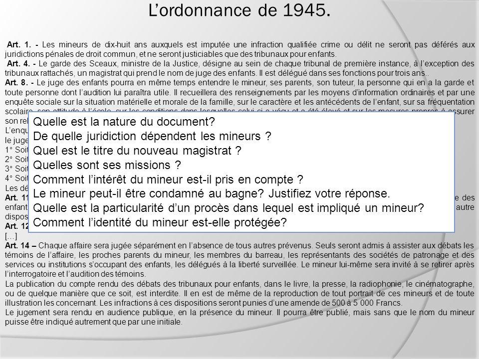 L'ordonnance de 1945. Quelle est la nature du document