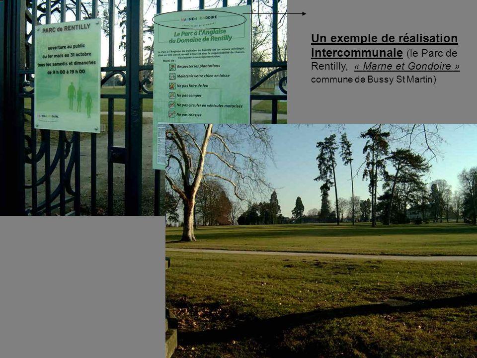 Un exemple de réalisation intercommunale (le Parc de Rentilly, « Marne et Gondoire » commune de Bussy St Martin)