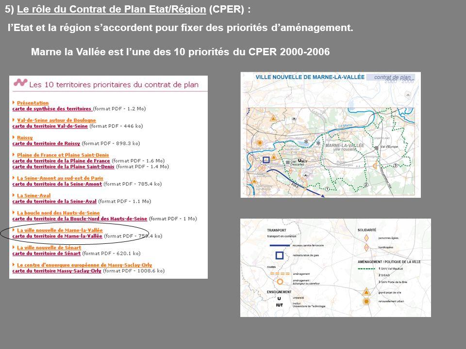 Marne la Vallée est l'une des 10 priorités du CPER 2000-2006