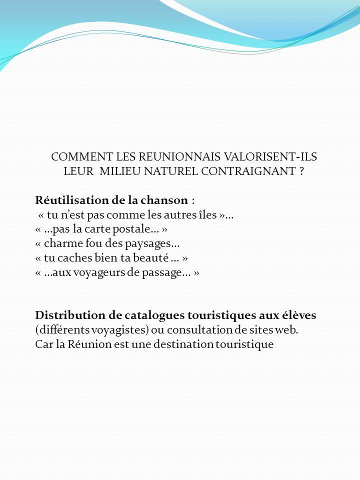 COMMENT LES REUNIONNAIS VALORISENT-ILS LEUR MILIEU NATUREL CONTRAIGNANT