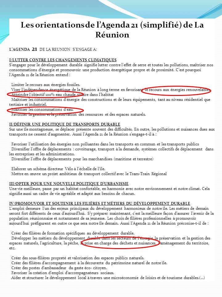 Les orientations de l'Agenda 21 (simplifié) de La Réunion