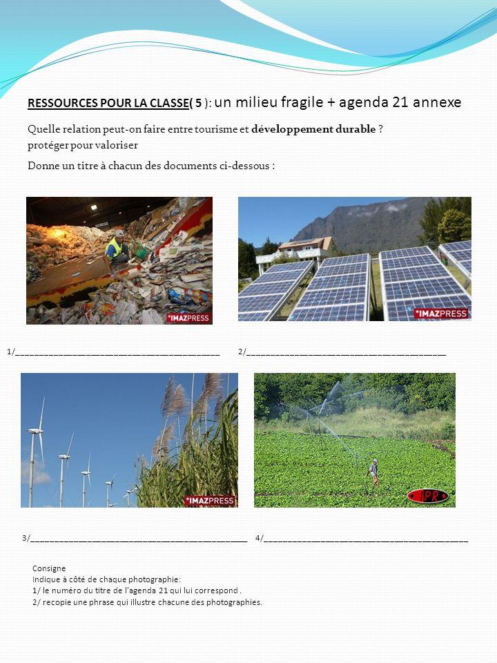 RESSOURCES POUR LA CLASSE( 5 ): un milieu fragile + agenda 21 annexe