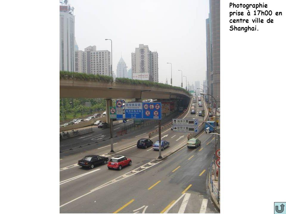 Photographie prise à 17h00 en centre ville de Shanghai.