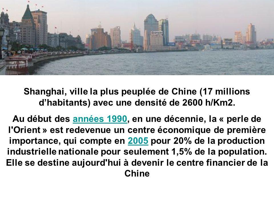 Shanghai, ville la plus peuplée de Chine (17 millions d'habitants) avec une densité de 2600 h/Km2.