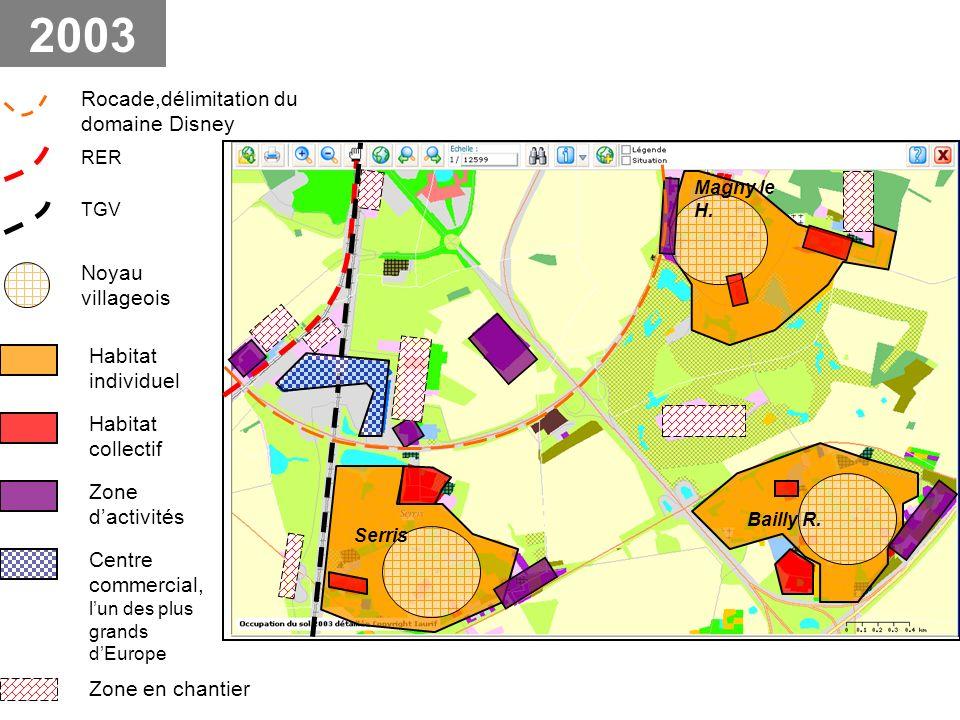 2003 Rocade,délimitation du domaine Disney Noyau villageois