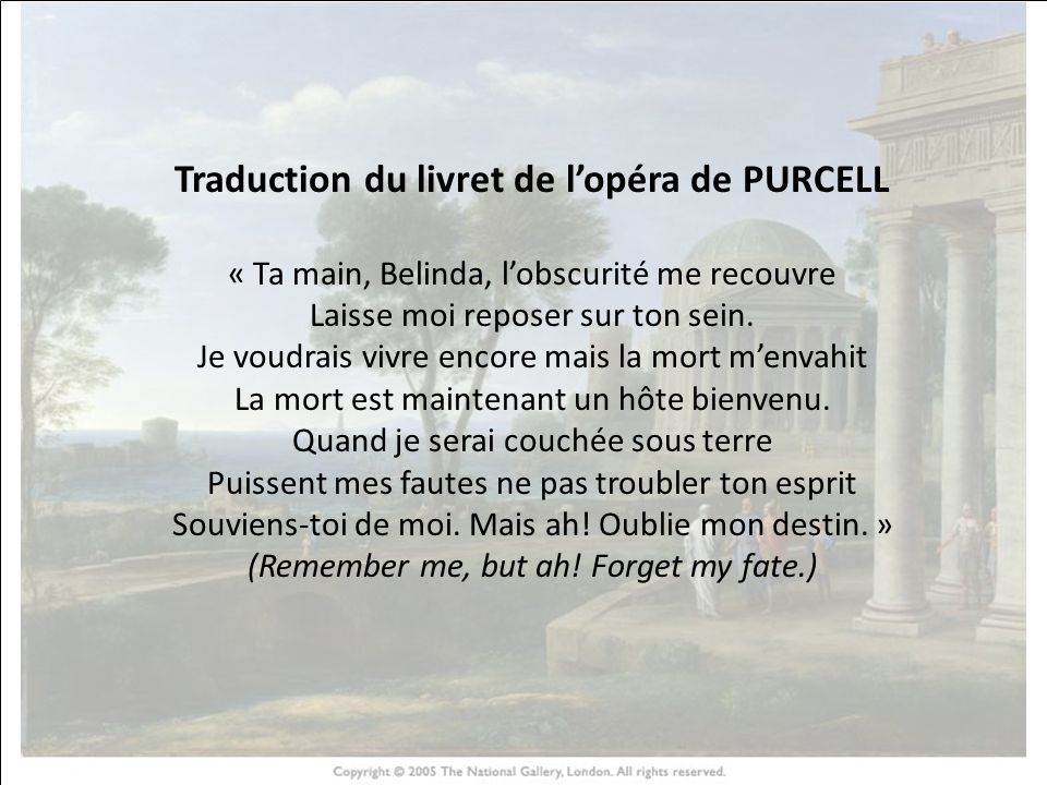 Traduction du livret de l'opéra de PURCELL