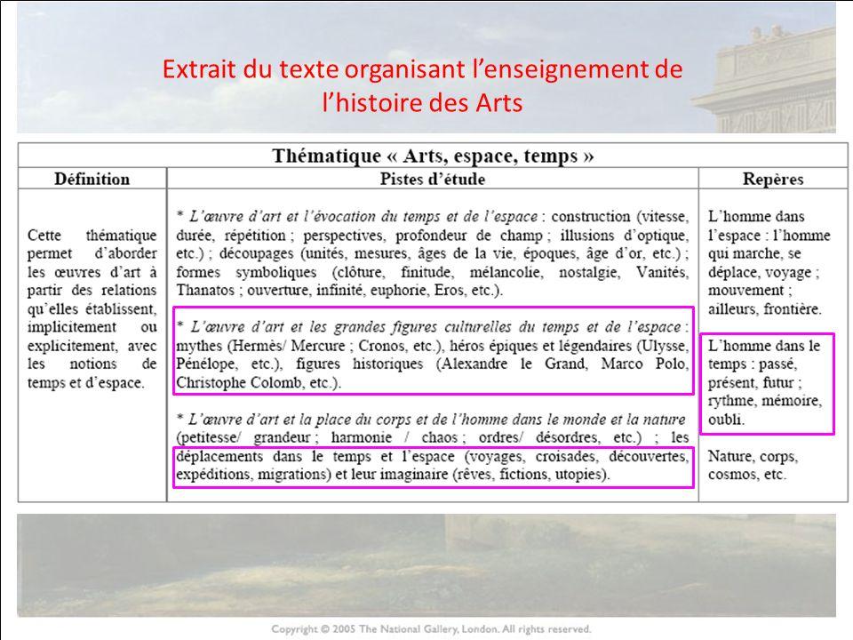 Extrait du texte organisant l'enseignement de l'histoire des Arts
