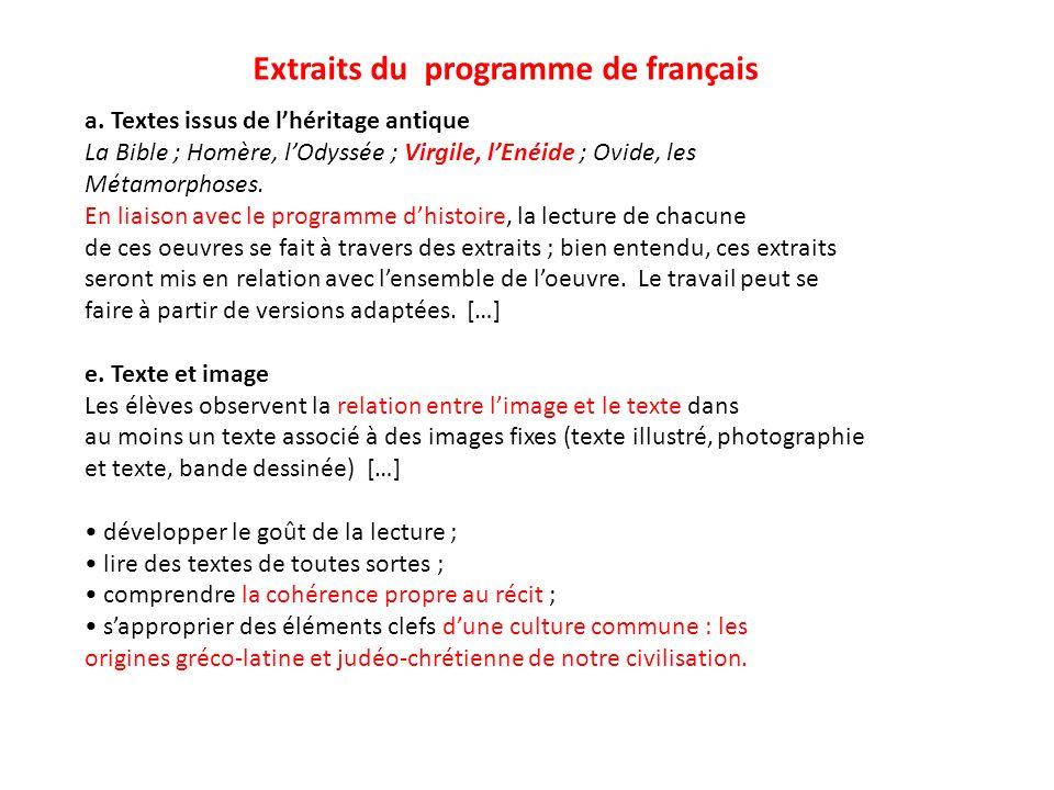 Extraits du programme de français