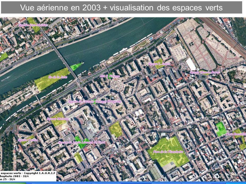 Vue aérienne en 2003 + visualisation des espaces verts
