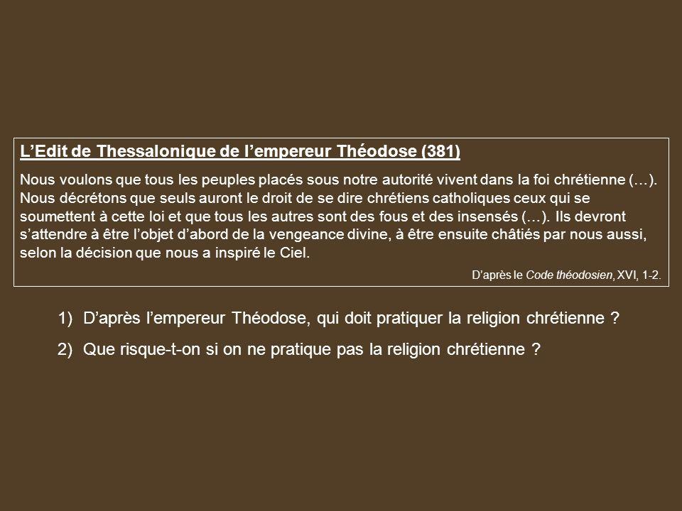 L'Edit de Thessalonique de l'empereur Théodose (381)