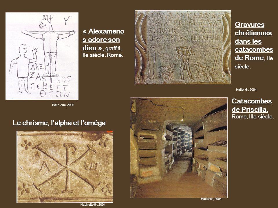 Gravures chrétiennes dans les catacombes de Rome, IIe siècle.