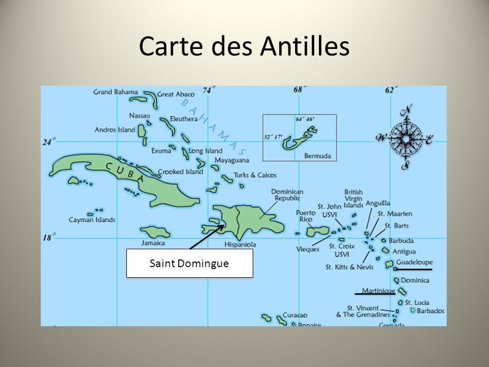 Carte des Antilles Saint Domingue
