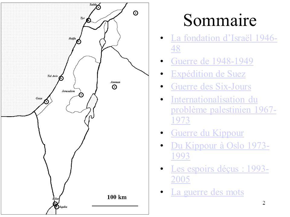 Sommaire La fondation d'Israël 1946-48 Guerre de 1948-1949