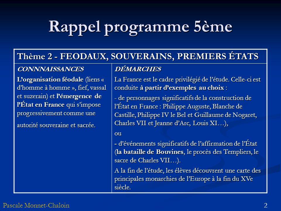Rappel programme 5ème Thème 2 - FEODAUX, SOUVERAINS, PREMIERS ÉTATS