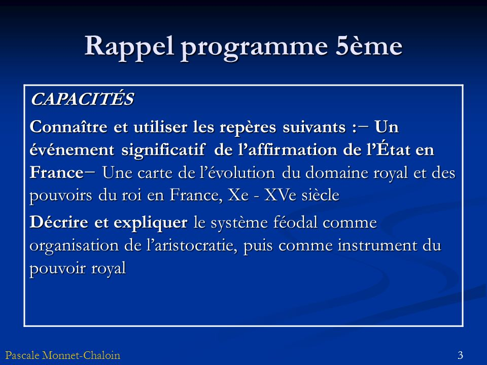 Rappel programme 5ème CAPACITÉS