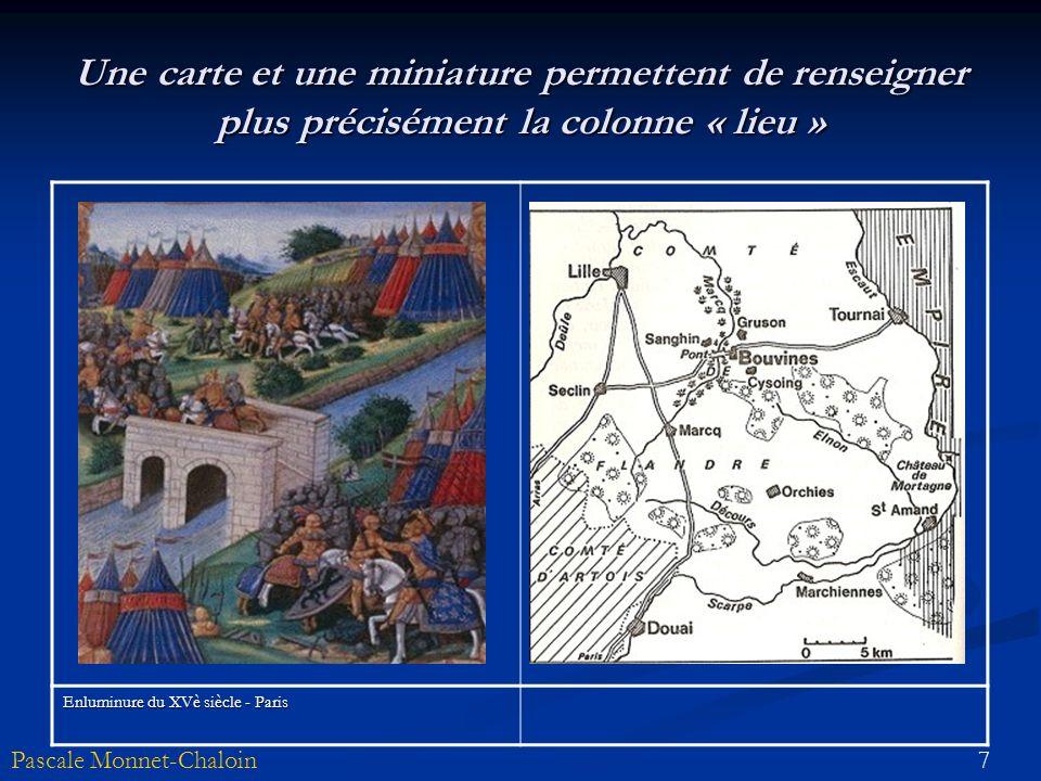 Une carte et une miniature permettent de renseigner plus précisément la colonne « lieu »
