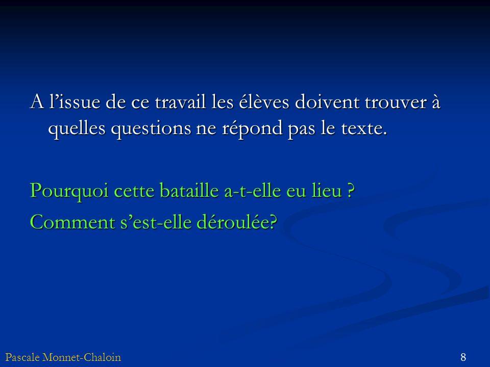 A l'issue de ce travail les élèves doivent trouver à quelles questions ne répond pas le texte.