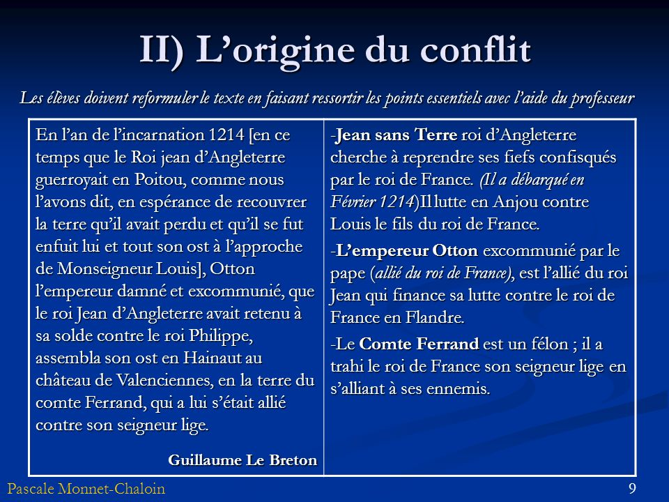 II) L'origine du conflit