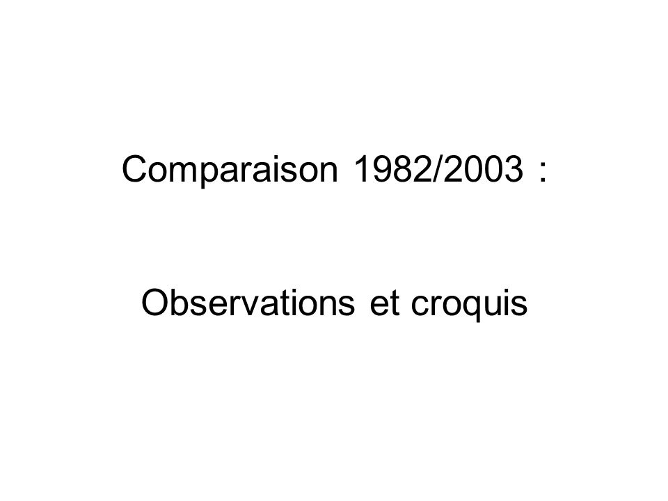 Comparaison 1982/2003 : Observations et croquis