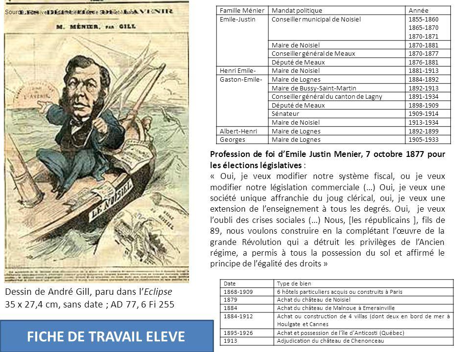 FICHE DE TRAVAIL ELEVE Dessin de André Gill, paru dans l'Eclipse