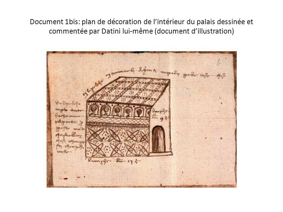 Document 1bis: plan de décoration de l'intérieur du palais dessinée et commentée par Datini lui-même (document d'illustration)