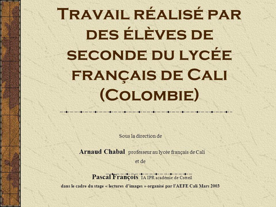 Travail réalisé par des élèves de seconde du lycée français de Cali (Colombie)
